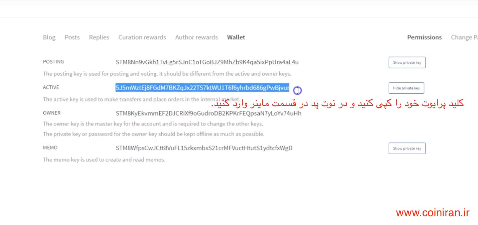 بعد از وارد کردن پسورد خود, بر روی گزینه  show private key کلیلک کنید تا کلید خصوصی شما نمایش داده شود. آنرا کپی کنید و در نت پد در قسمت مربوط به ماینر وارد کنید. مانند عکس Screen Shot 2016-08-24 at 01.42.03