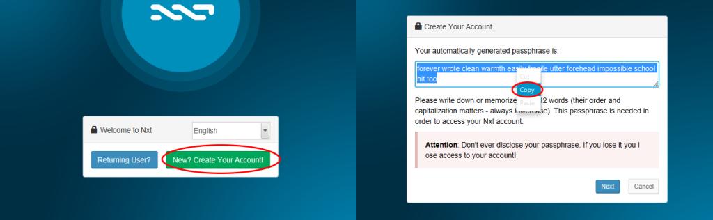 سپس بر روى گزينه ايجاد اكانت(Create your account) كليك كنيد. نرم افزار NXT عباراتى را توليد ميكند كه از ١٢ كلمه تشكيل شده است. اين عبارات را به دقت ذخيره كنيد