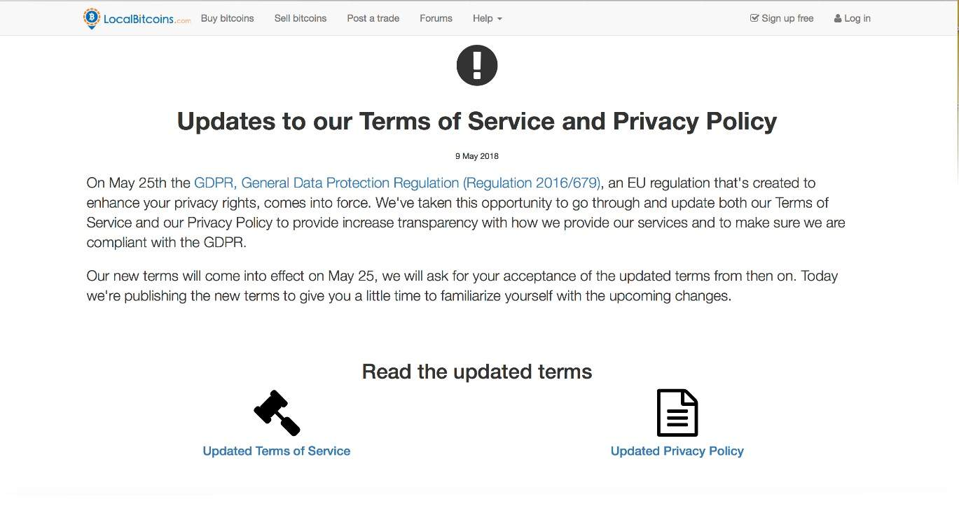 تغییر شرایط استفاده از خدمات Localbitcoins با محوریت تأیید هویت و سیاست های حریم خصوصی سازمان