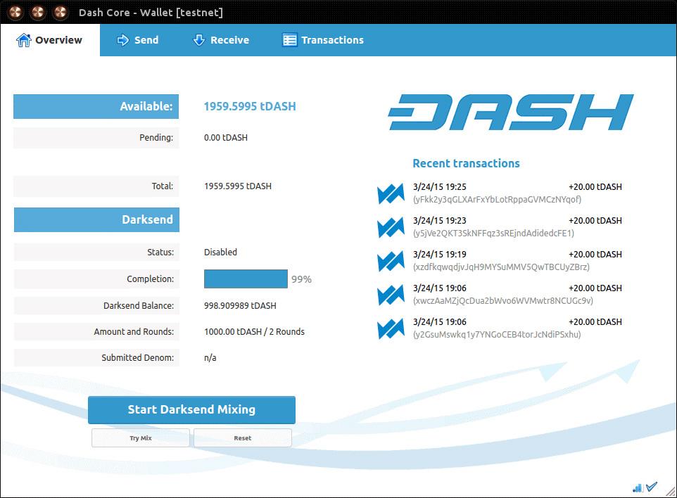 کیف پول دش DASH Core