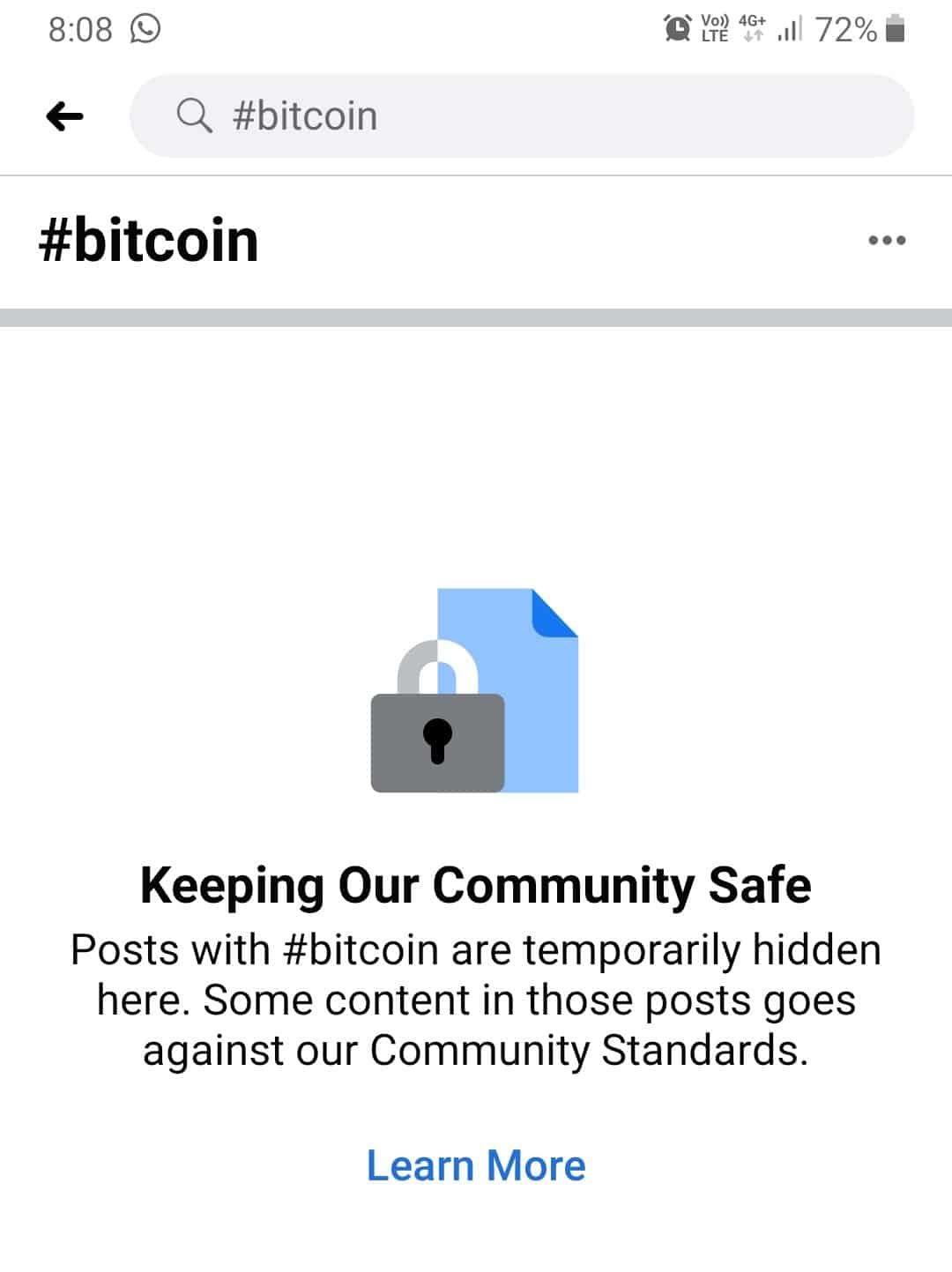سانسور مجدد محتوای مربوط به بیت کوین در فیسبوک