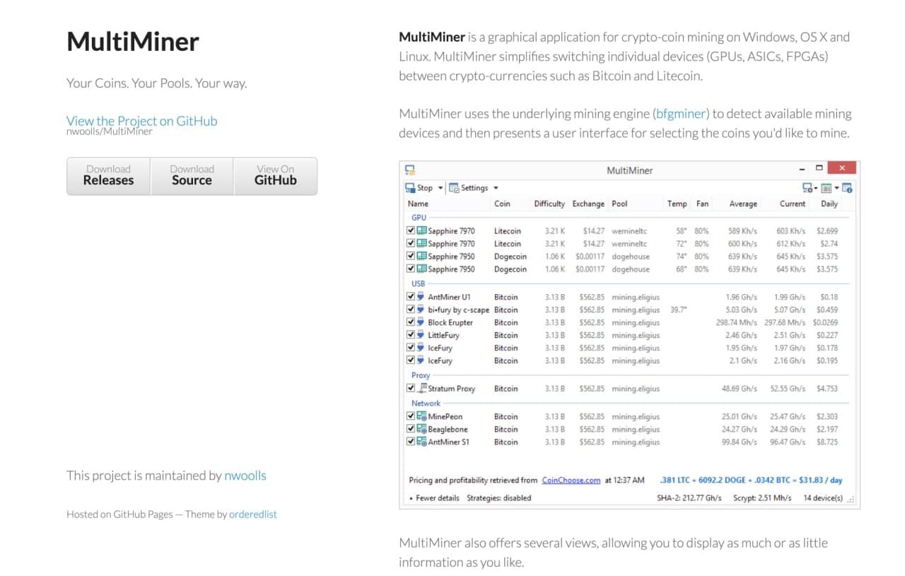 بهترین نرمافزار استخراج بیت کوین Multi Miner